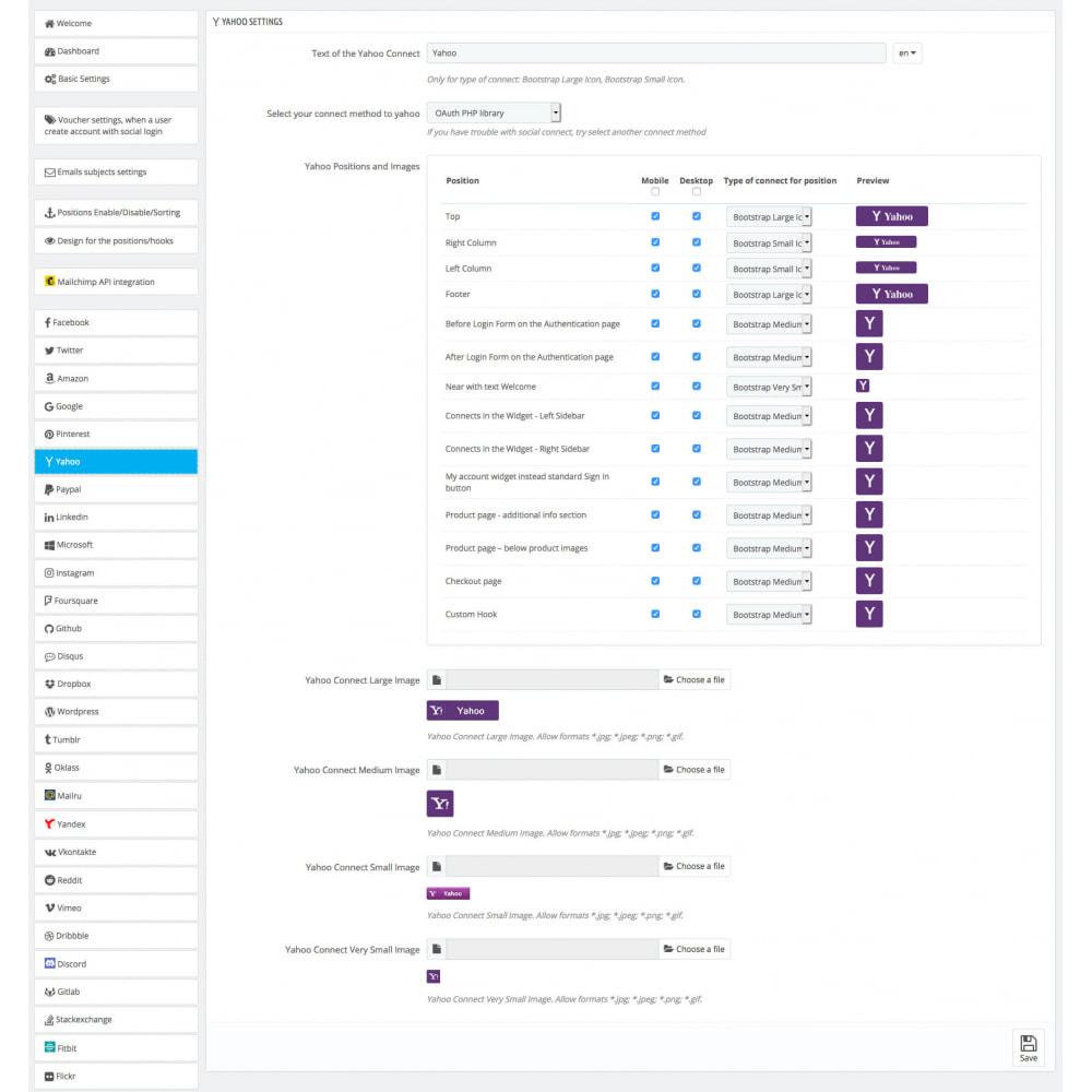 module - Boutons Login & Connect - Social Login & Connexions 40 en 1 Coupons, Statistiques - 24