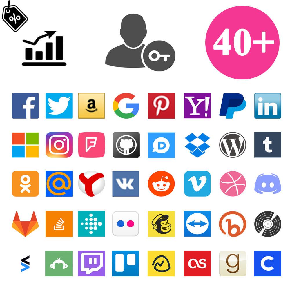 module - Botones de inicio de Sesión/Conexión - Sociales Login & Conexiones 40 en 1 Cupón, Estadísticas - 1