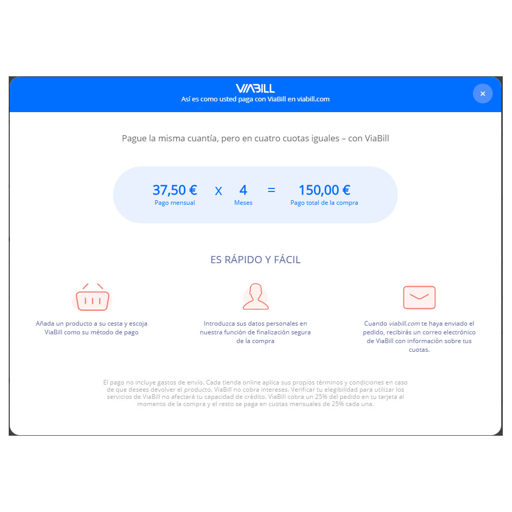module - Pago con Tarjeta o Carteras digitales - ViaBill Official – Try, before you buy! - 3
