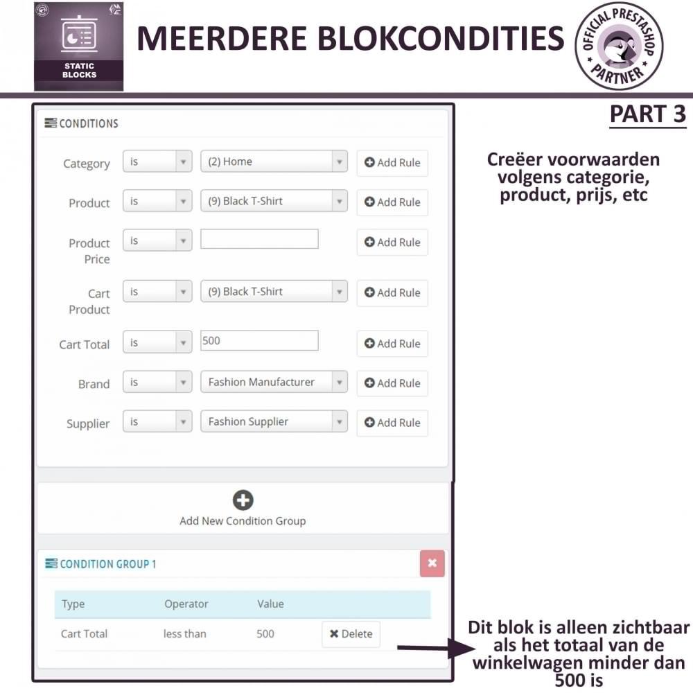 module - Blokken, Tabbladen & Banners - Statische Blok - HTML, Tekst- en Multimedia Blokken - 13