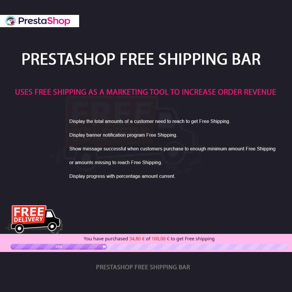 module - Блоки, вкладки и Баннеры - Free Shipping Bar - 1