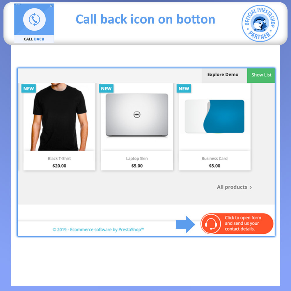 module - Suporte & Chat on-line - Call Back - Fixed & Floating Call Back Form - 2