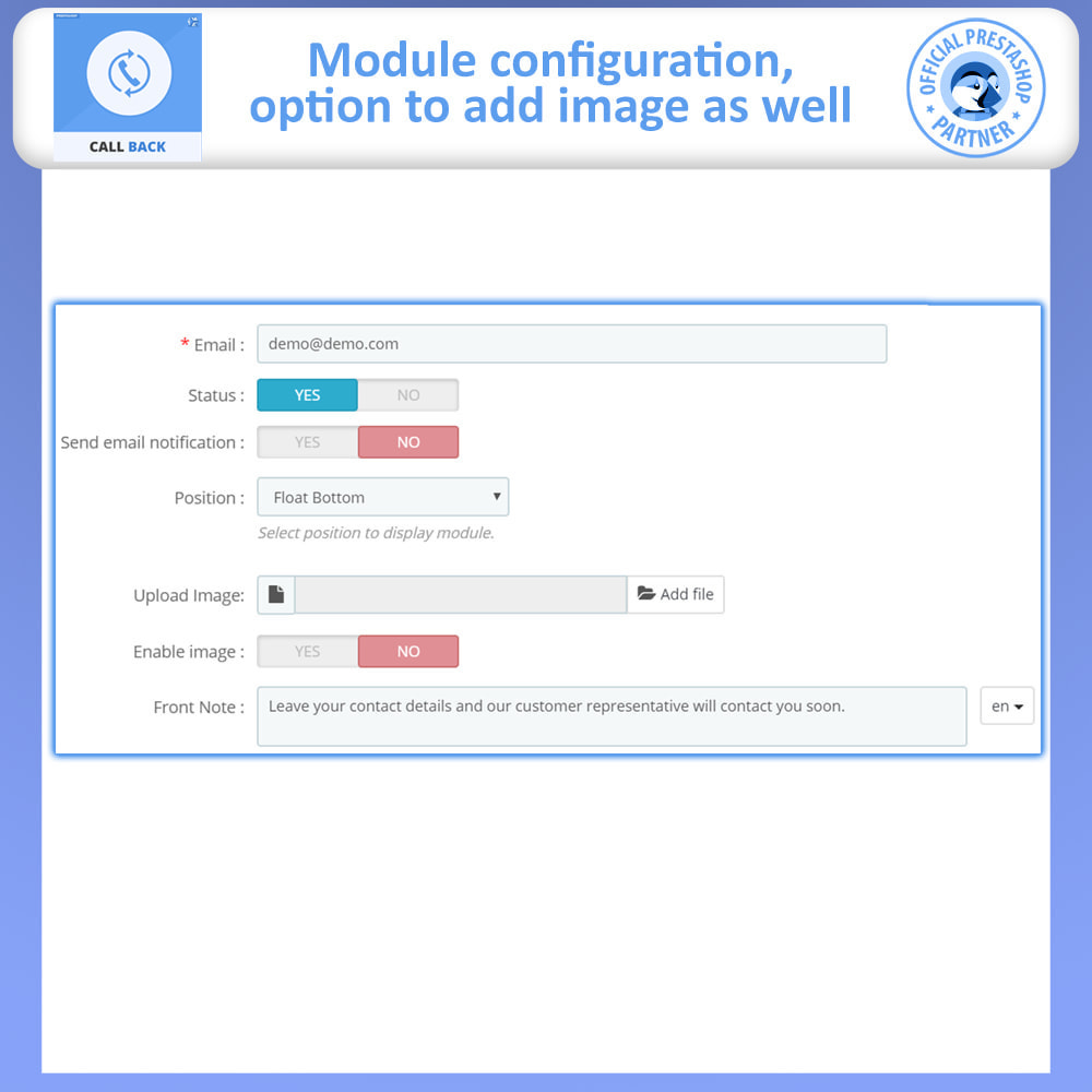module - Suporte & Chat on-line - Call Back - Fixed & Floating Call Back Form - 8