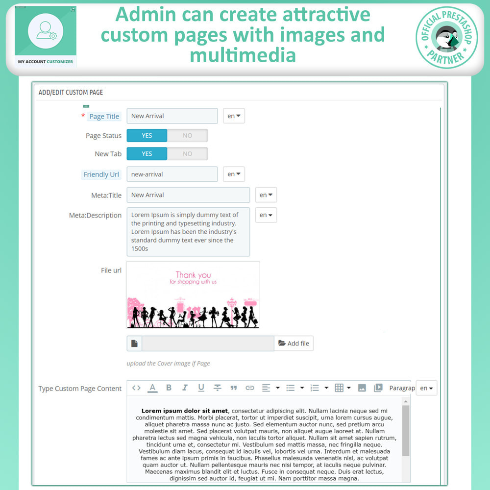 module - Administrative Tools - My Account Customizer - 6