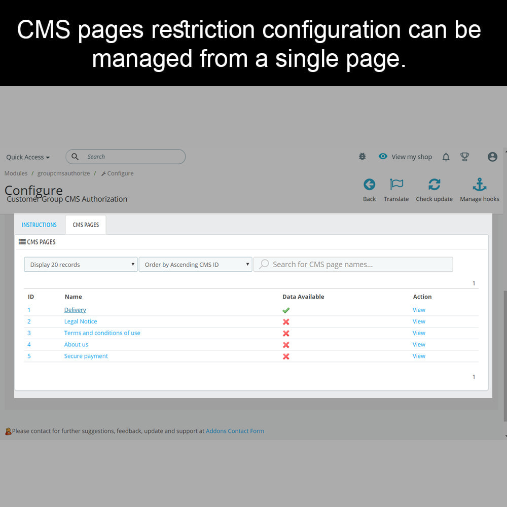 module - Security & Access - Private CMS - Customer Group CMS Authorization - 3