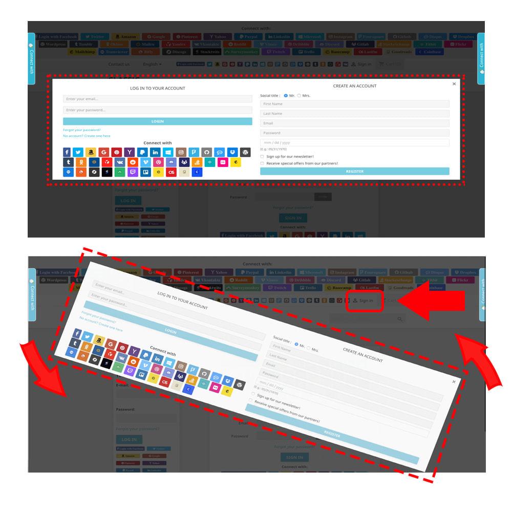 module - Botones de inicio de Sesión/Conexión - Sociales Login & Conexiones 40 en 1 Cupón, Estadísticas - 3