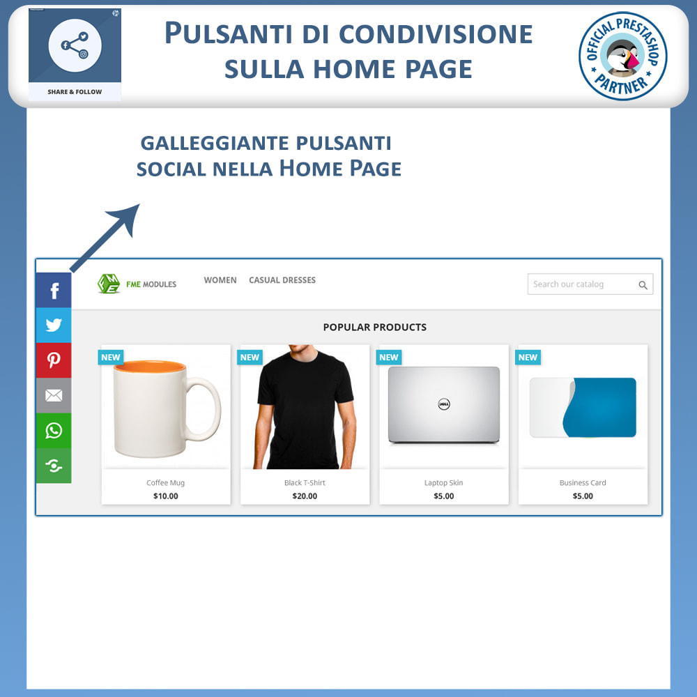 module - Pulsanti di condivisione & Commenti - Condividere e Seguire – Widget Sociale - 2
