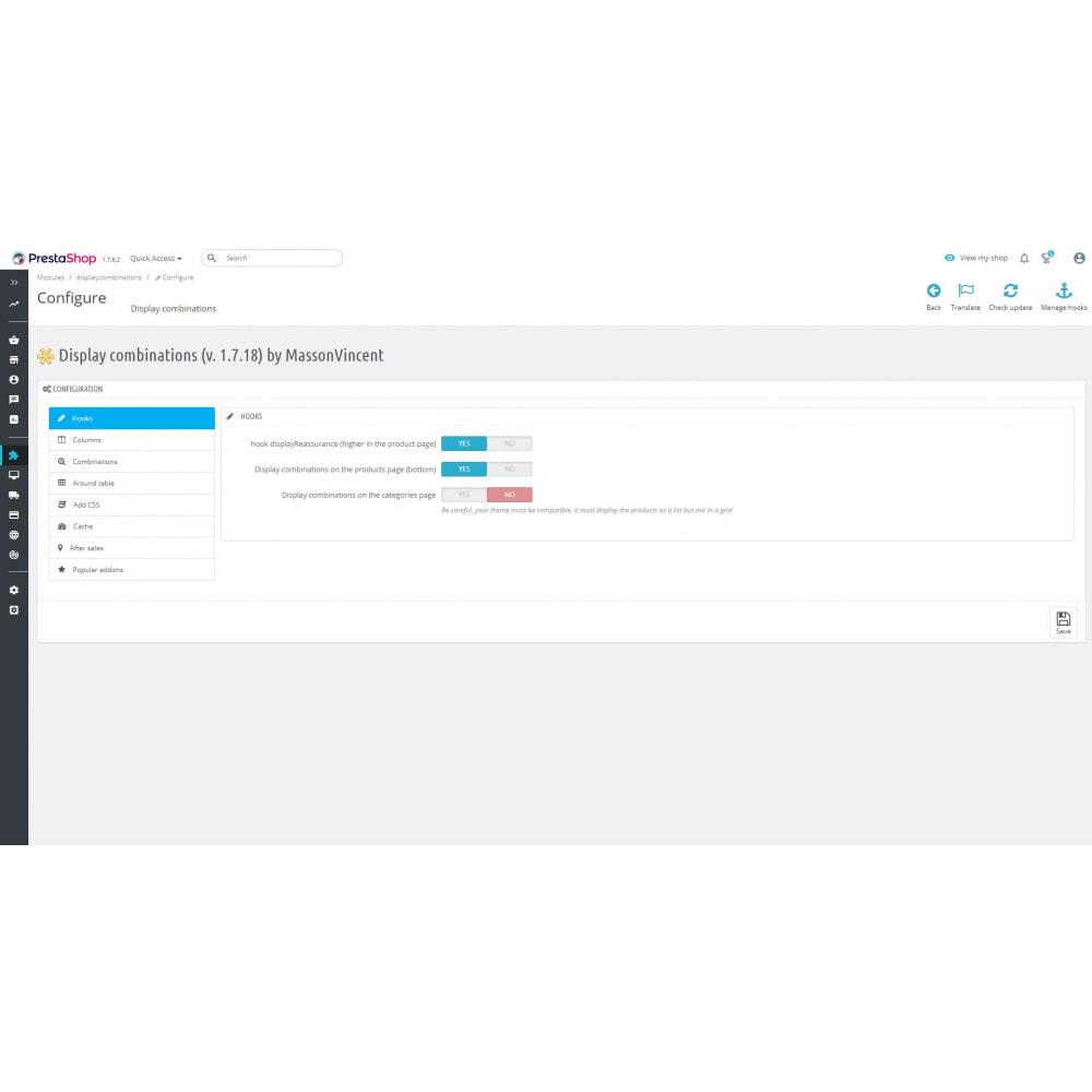 module - Deklinacje & Personalizacja produktów - List of combinations - 2