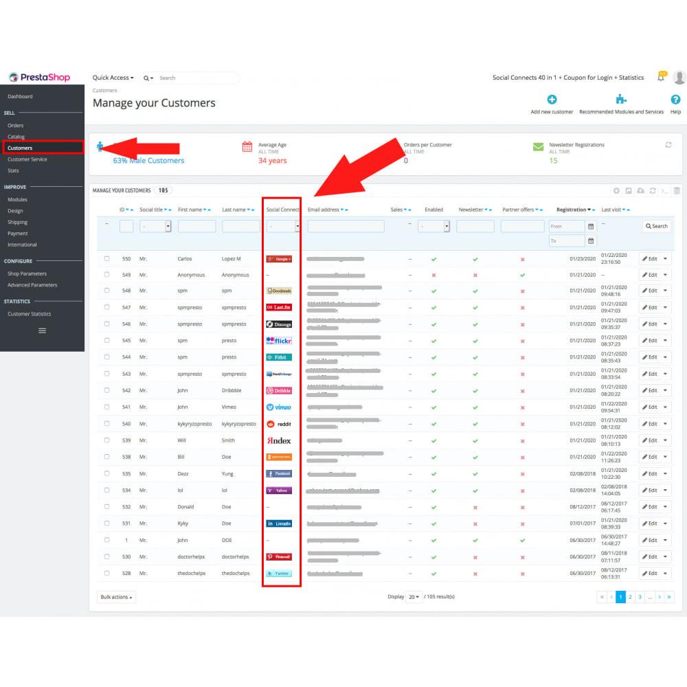 module - Login & Verbinden - Social Login Connect 35 in 1, MailChimp, Statistics - 17