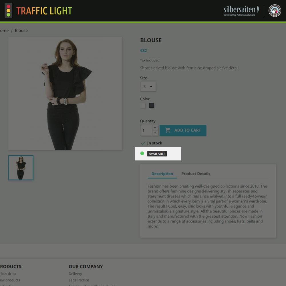 module - Informaciones adicionales y Pestañas - Función de semáforo - Disponibilidad del producto - 3