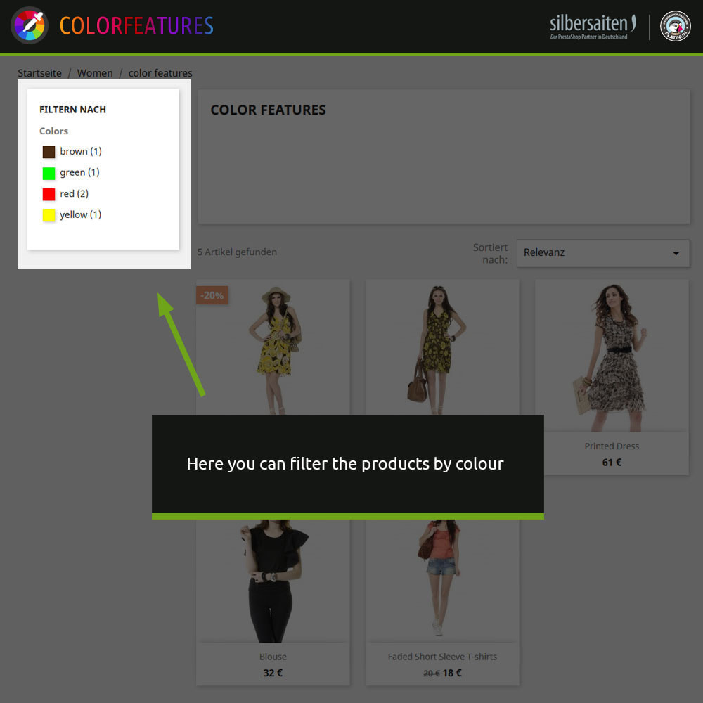 module - Search & Filters - Features - extended by colors - 2