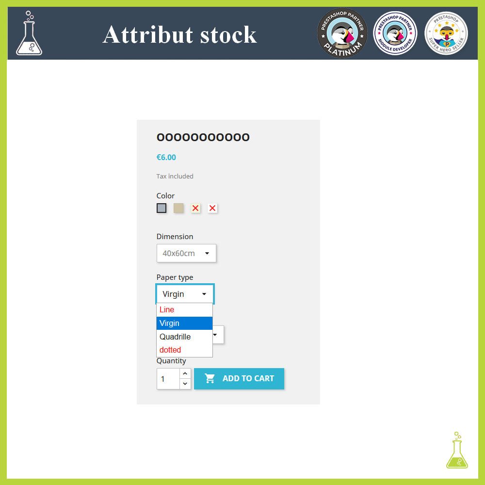 module - Combinations & Product Customization - Display of combinations/attributes with stock - 2