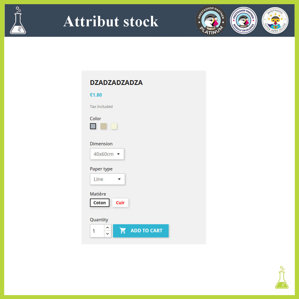 module - Combinations & Product Customization - Display of combinations/attributes with stock - 3