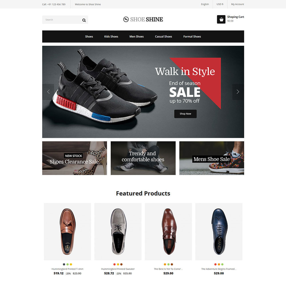 theme - Template PrestaShop - Shoes Slippers  - Accessories Casual Shoes Store - 1