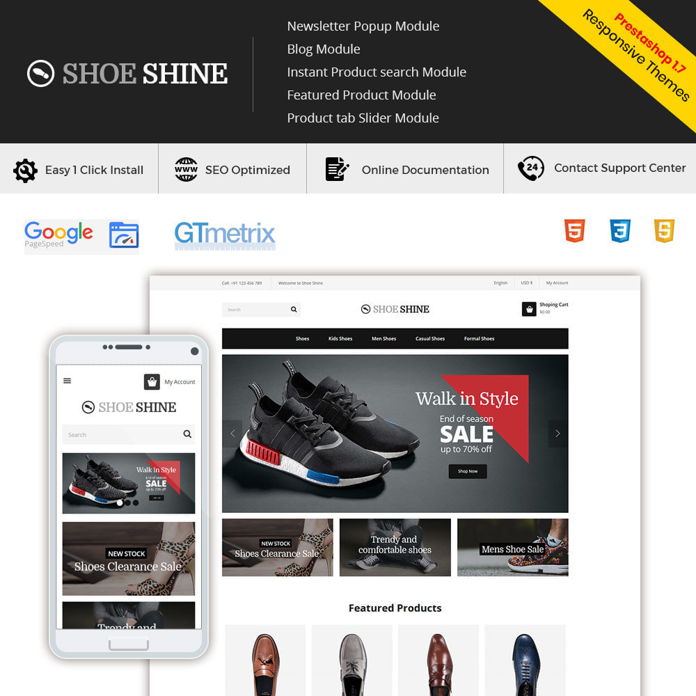 theme - Template PrestaShop - Shoes Slippers  - Accessories Casual Shoes Store - 3
