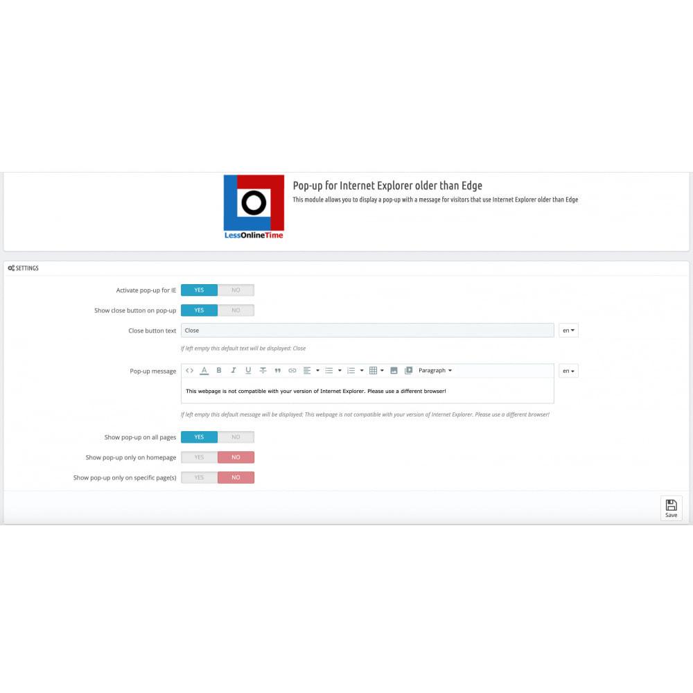 module - Pop-up - IE popup browser compatibility alert/blocker (IE6 - 11) - 3