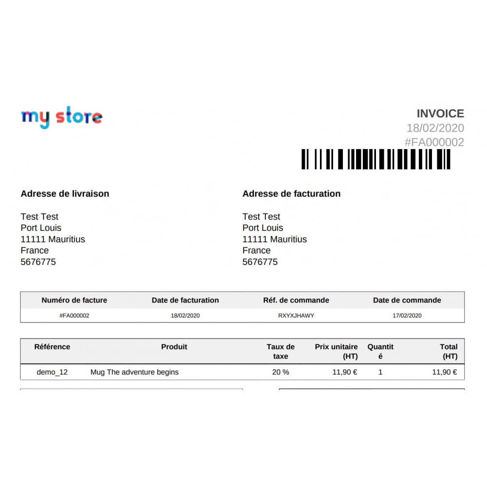 module - Orderbeheer - Barcode 128 on invoices Coliship - 1