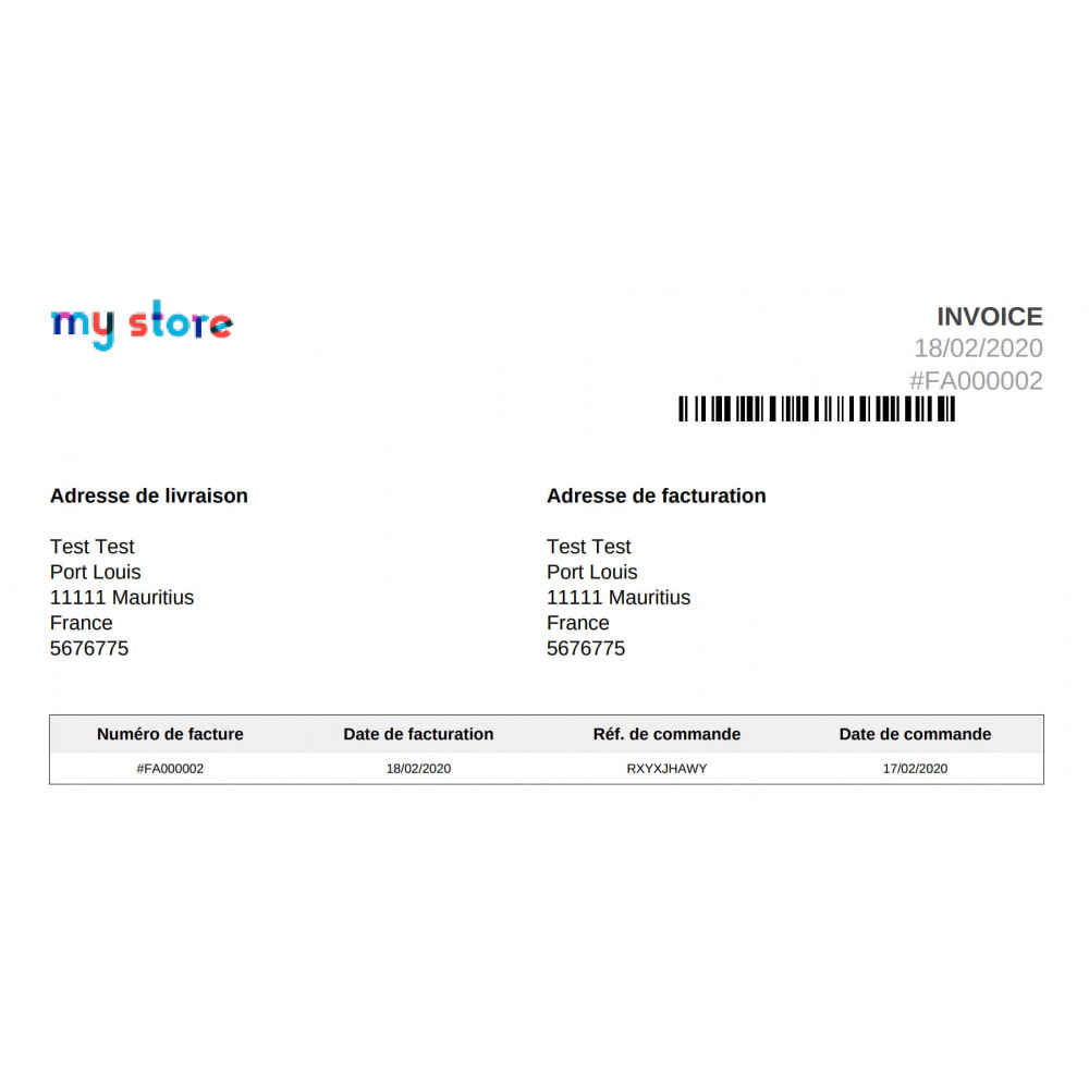 module - Orderbeheer - Barcode 128 on invoices Coliship - 2