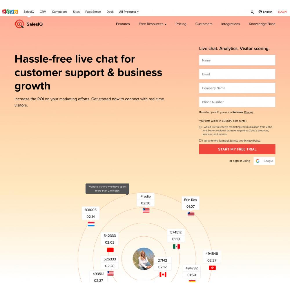 module - Поддержка и онлайн-чат - Zoho SalesIQ Live Chat Customer Support with free plan - 3