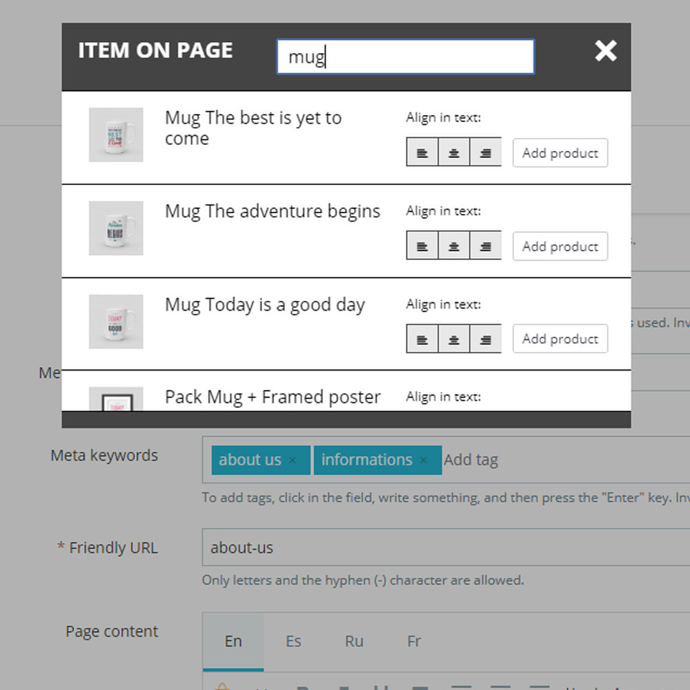 module - Zarządzanie produktami na stronie głównej - Produkty na stronach CMS - 5