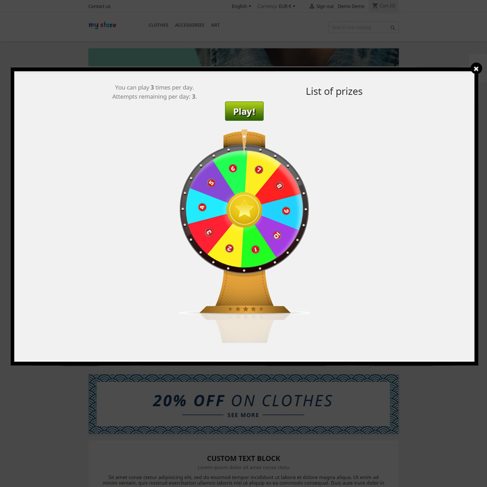 module - Jogos para os Clientes - Wheel of Fortune, discounts and gifts to customers - 4
