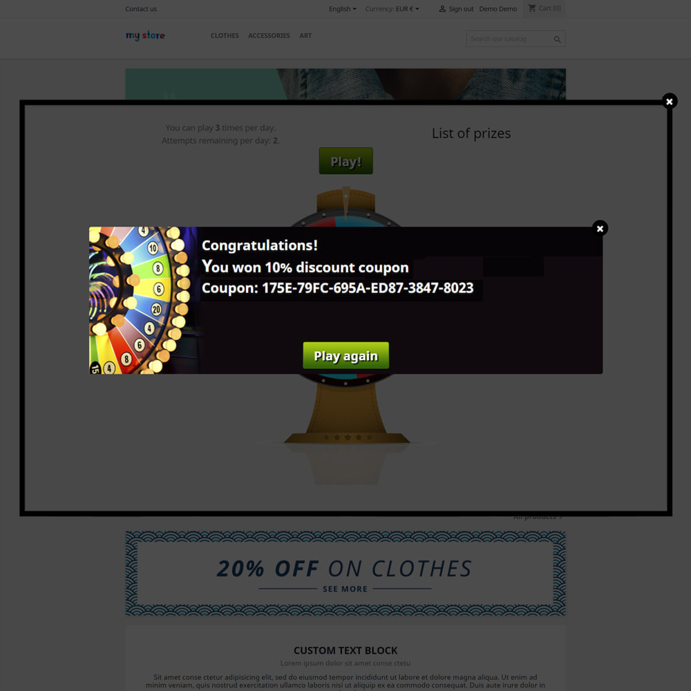 module - Jogos para os Clientes - Wheel of Fortune, discounts and gifts to customers - 7