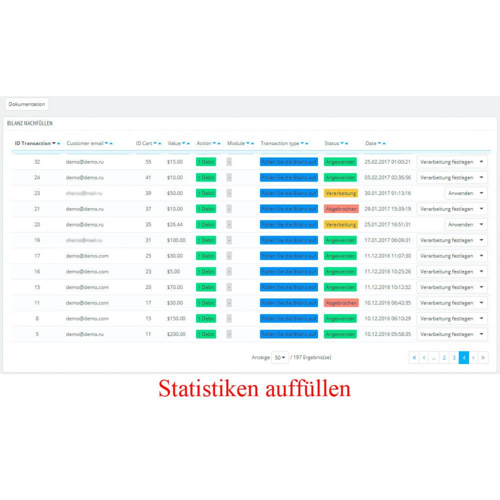 module - Zahlung per Kreditkarte oder Wallet - Interner Benutzerbilanz UserBalance - 4