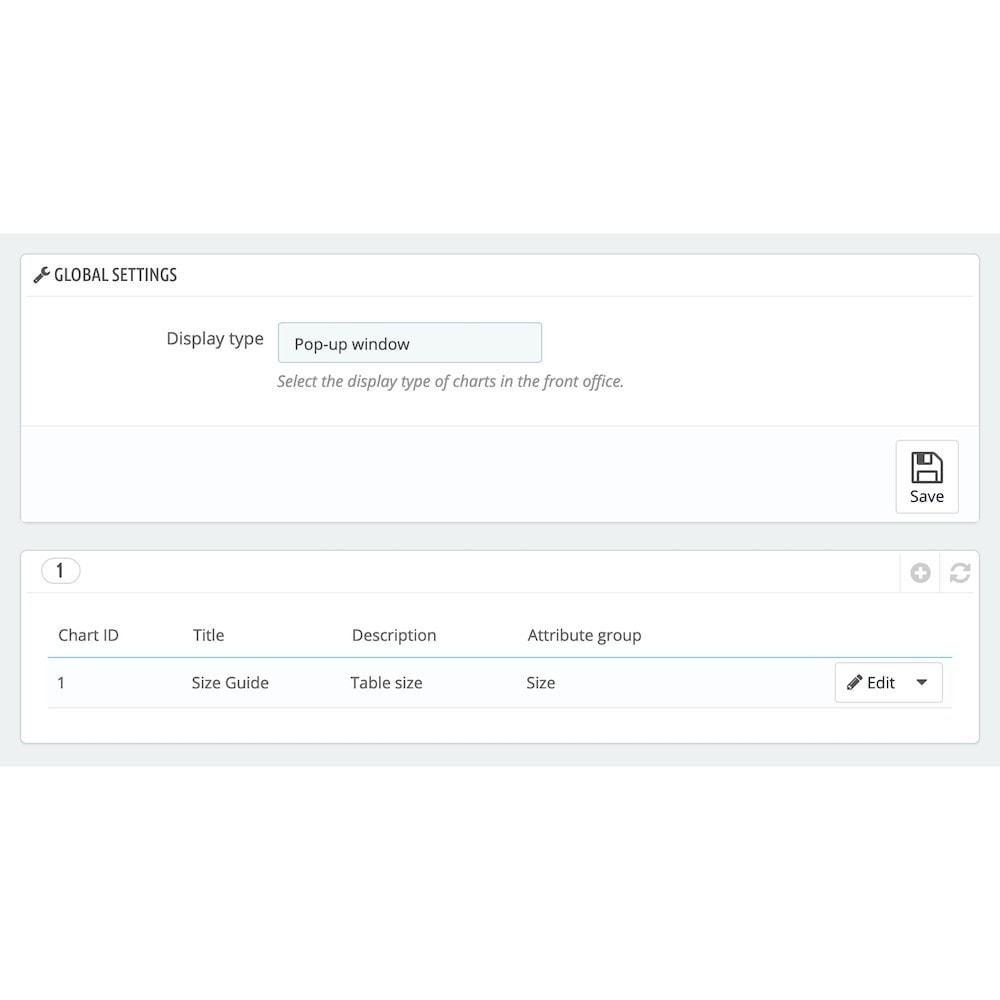 module - Tamanhos e dimensões - Product Size Chart Pro + - 1