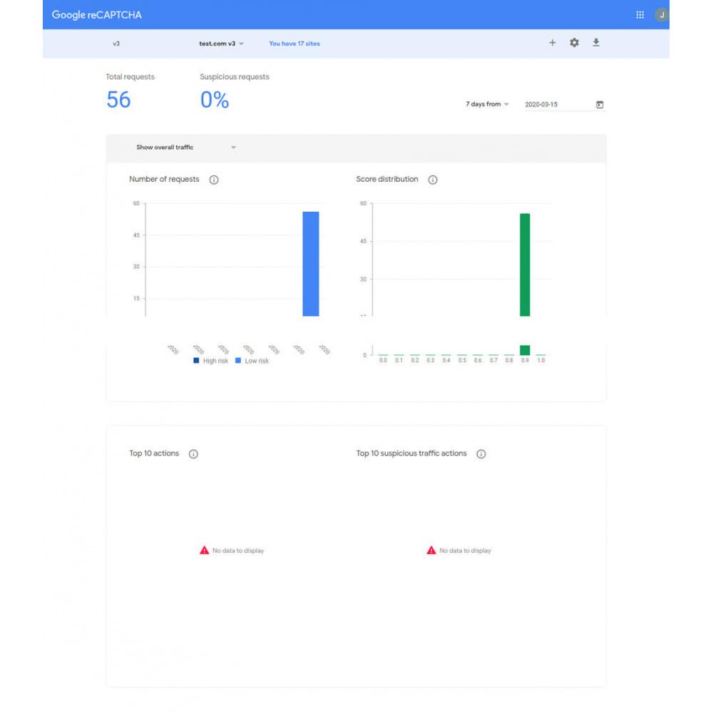 module - Iscrizione e Processo di ordinazione - Google reCAPTCHA v3 - stop spam - 2