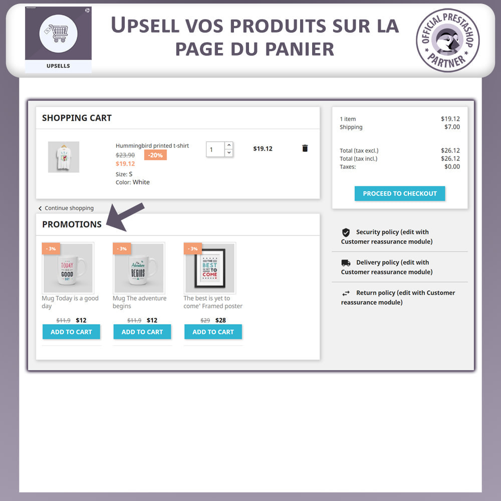 module - Ventes croisées & Packs de produits - Upsell Products - Push on Cart - 7