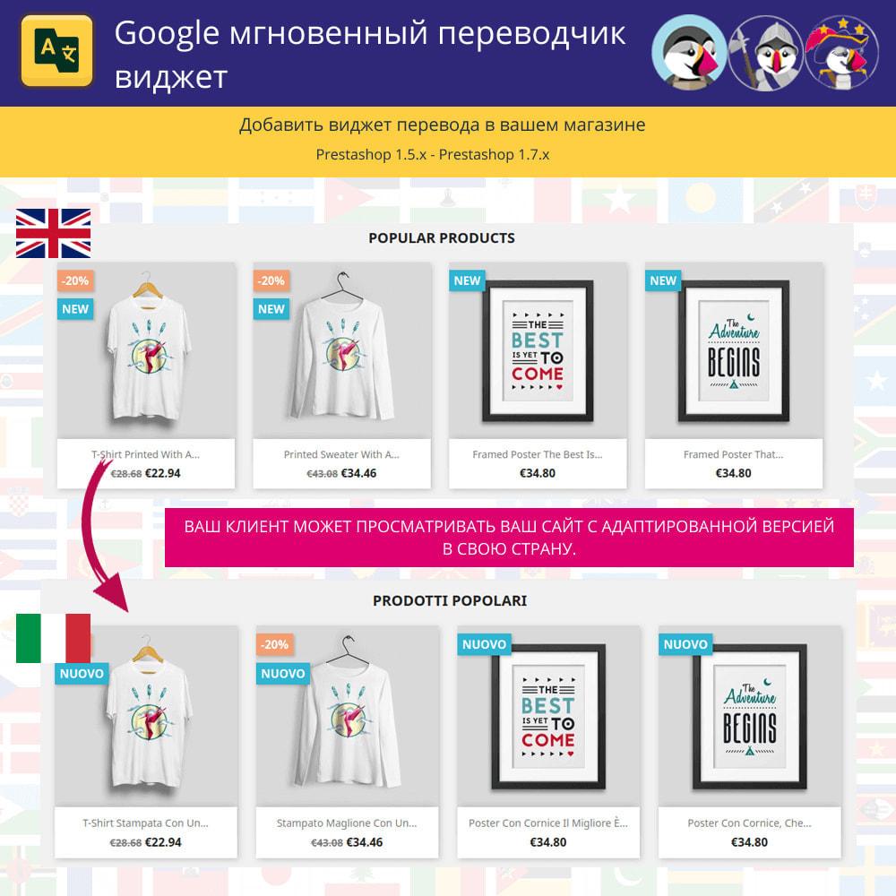 module - Международный рынок и геолокация - Google Translate Widget - 1