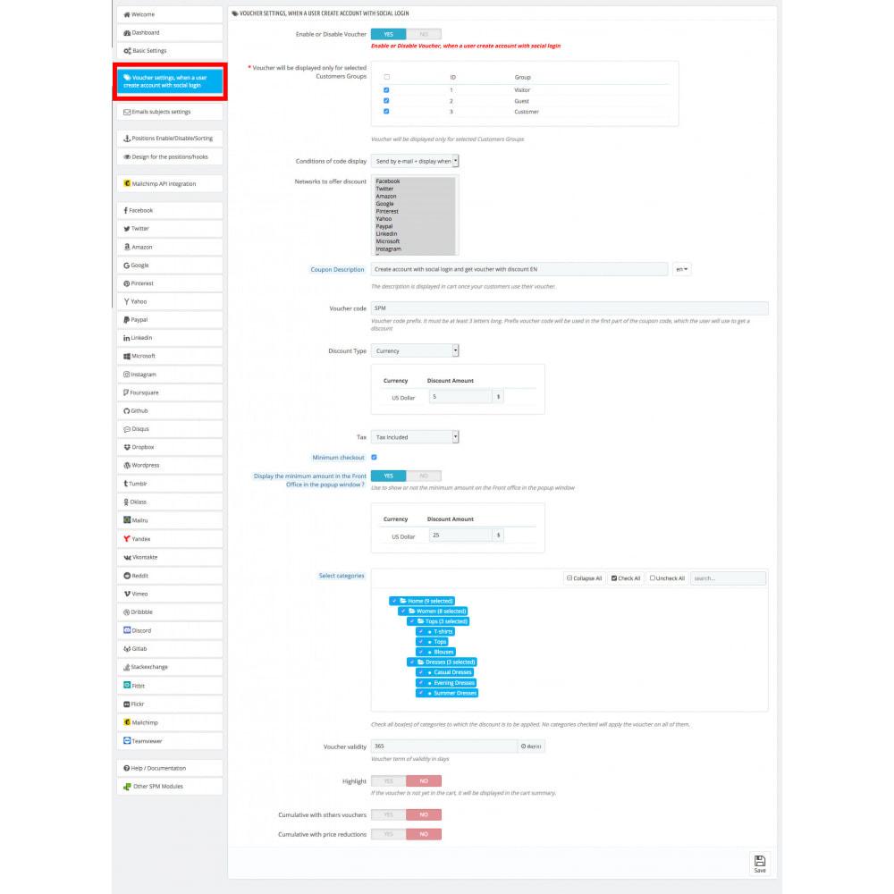 module - Bons de réduction sur les réseaux sociaux - Multilogin + Coupon + MailChimp + Statistiques 30 en 1 - 16