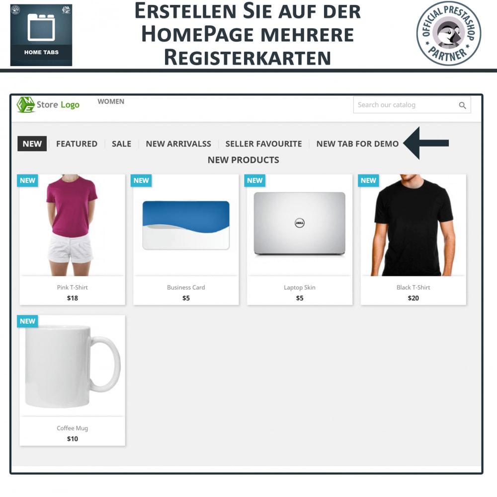 module - Blocks, Reiter & Banner - Home Tabs - Produkte hinzufügen Tabs sortieren - 2