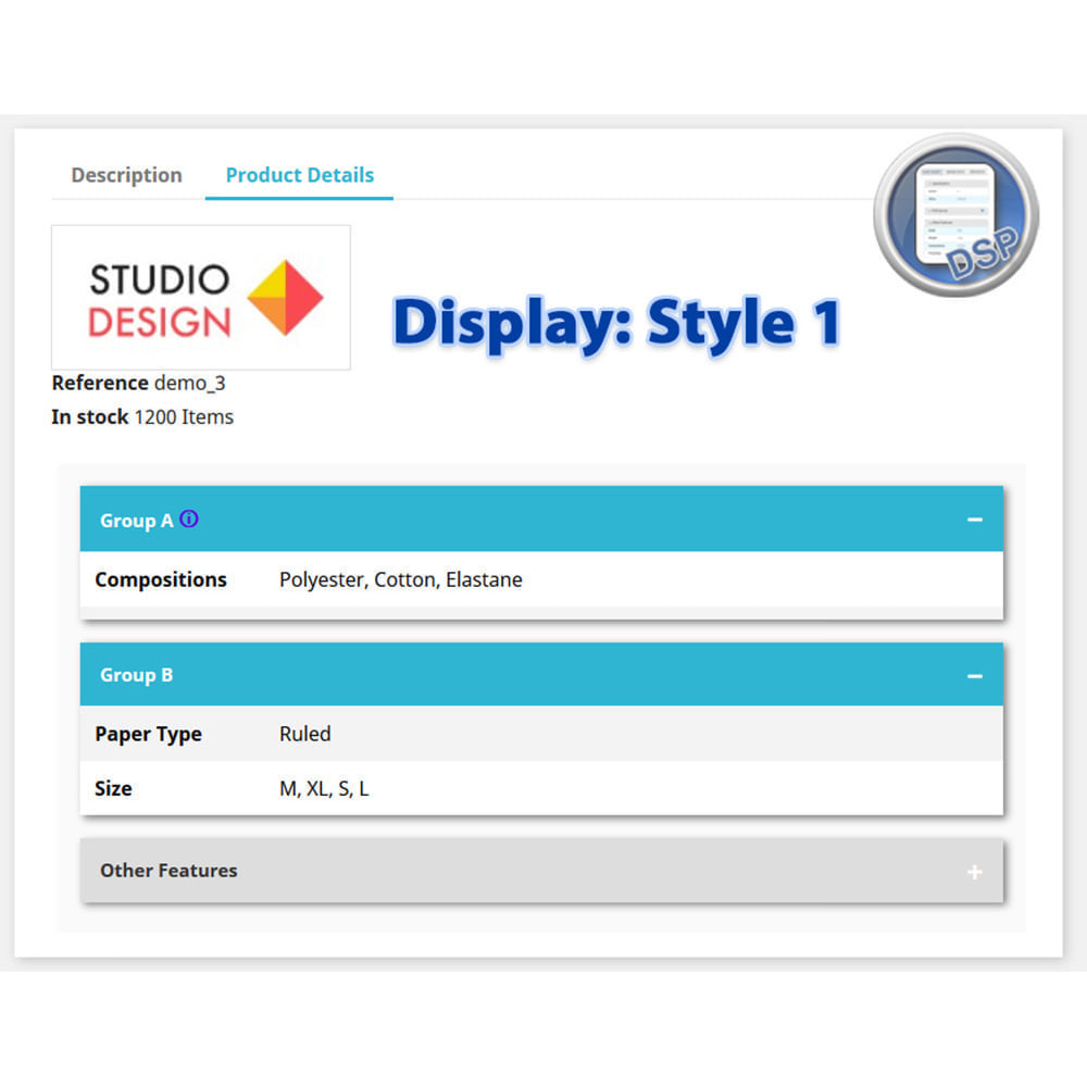 module - Дополнительной информации и вкладок товара - DataSheet Pro - product features - 4