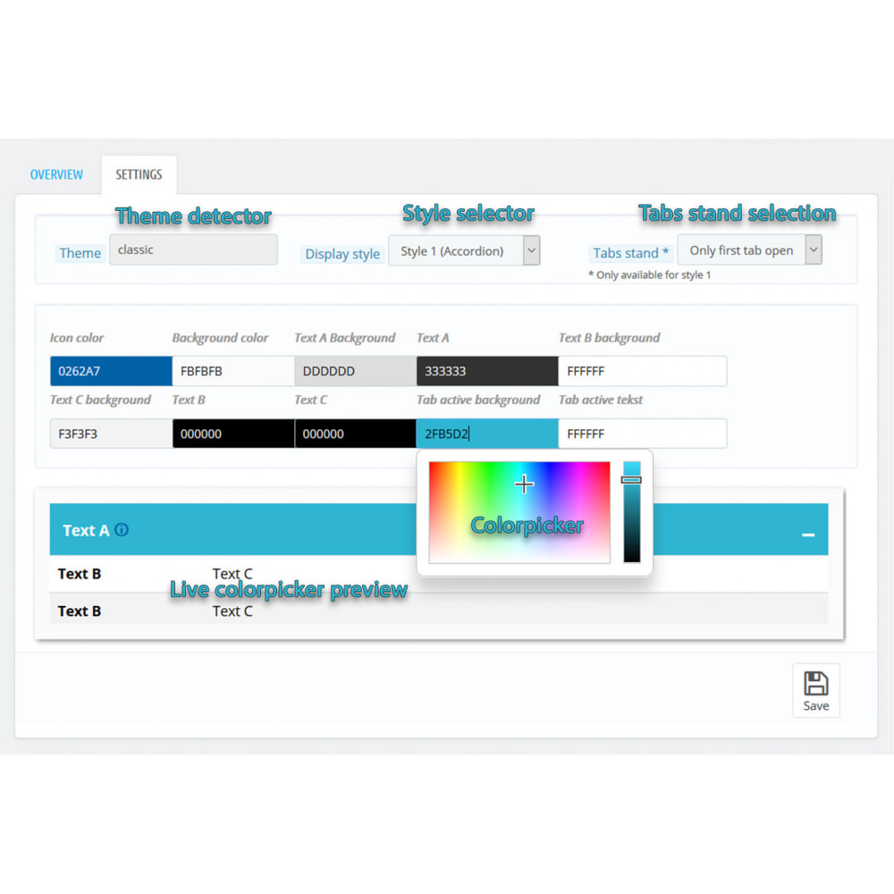 module - Дополнительной информации и вкладок товара - DataSheet Pro - product features - 5