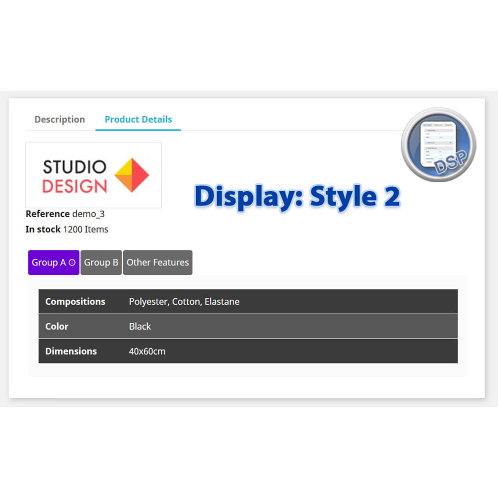 module - Дополнительной информации и вкладок товара - DataSheet Pro - product features - 6