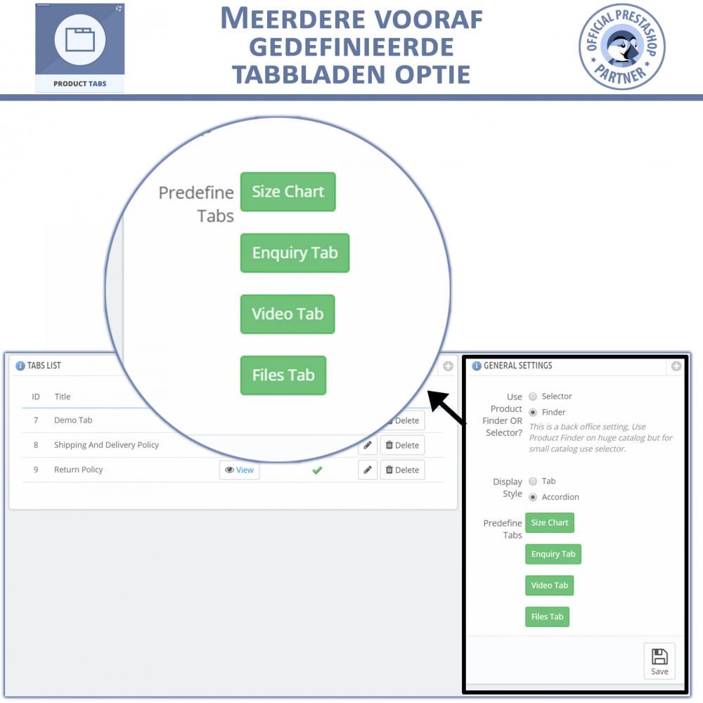 module - Bijkomende Informatie - Product Tabbladen - Voeg aangepaste tabbladen toe - 5