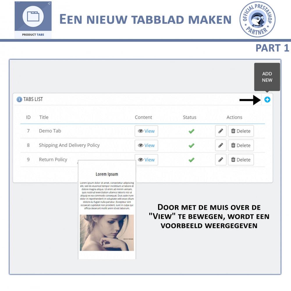 module - Bijkomende Informatie - Product Tabbladen - Voeg aangepaste tabbladen toe - 6