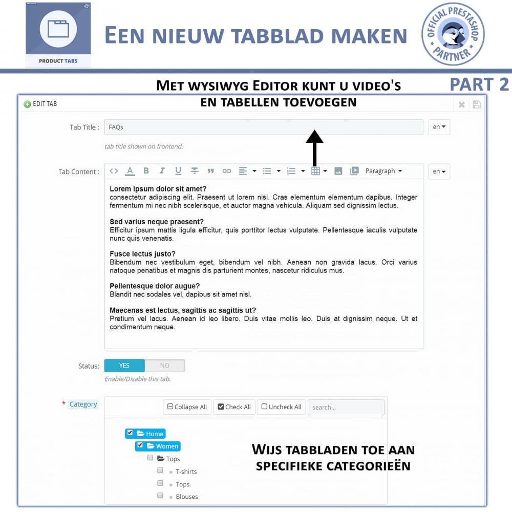 module - Bijkomende Informatie - Product Tabbladen - Voeg aangepaste tabbladen toe - 7