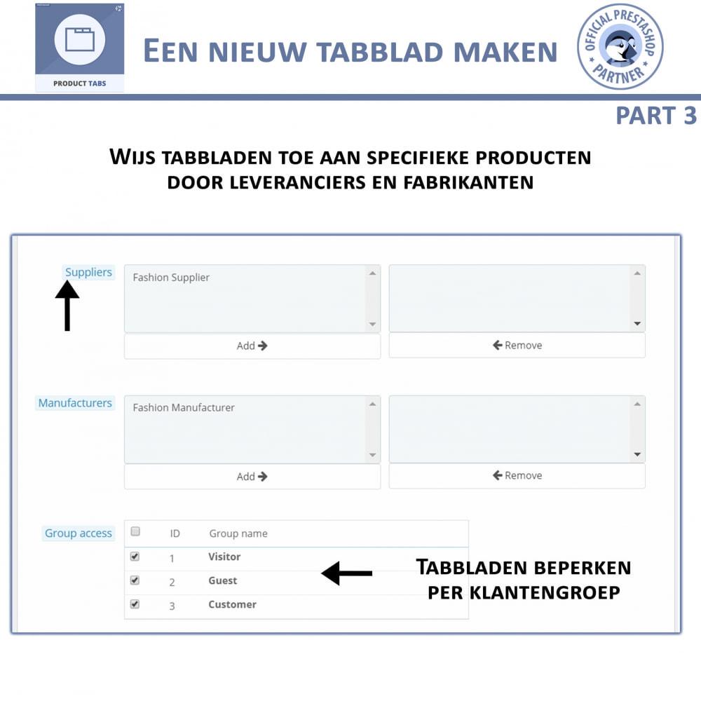module - Bijkomende Informatie - Product Tabbladen - Voeg aangepaste tabbladen toe - 8