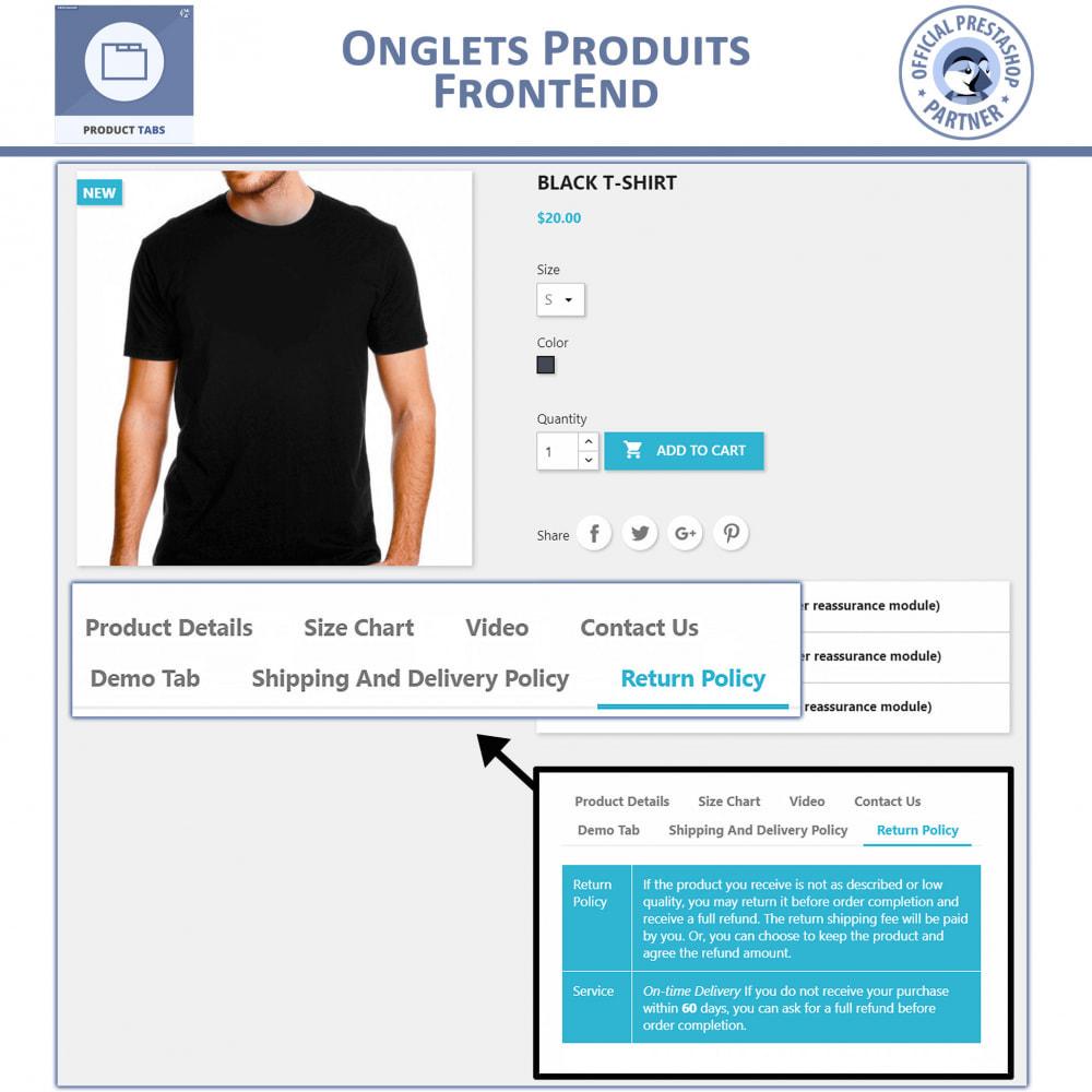 module - Information supplémentaire & Onglet produit - Onglets de Produits - 3