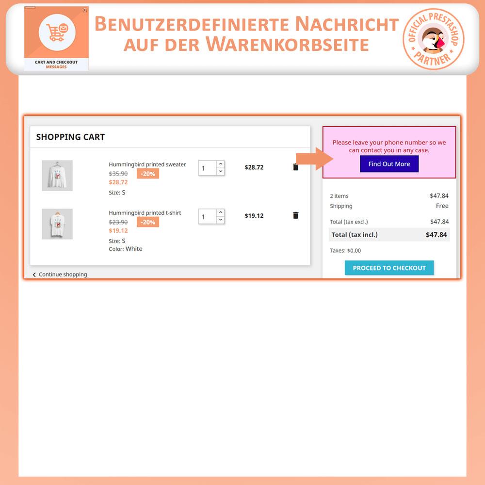 module - Anmeldung und Bestellvorgang - Warenkorb und Checkout-Nachrichten - 2