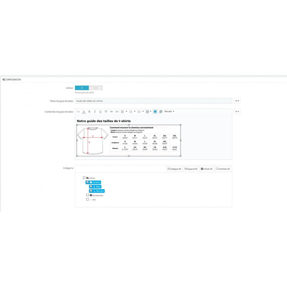 module - Tailles & Dimensions - Afficher le guide des tailles par catégorie - 1