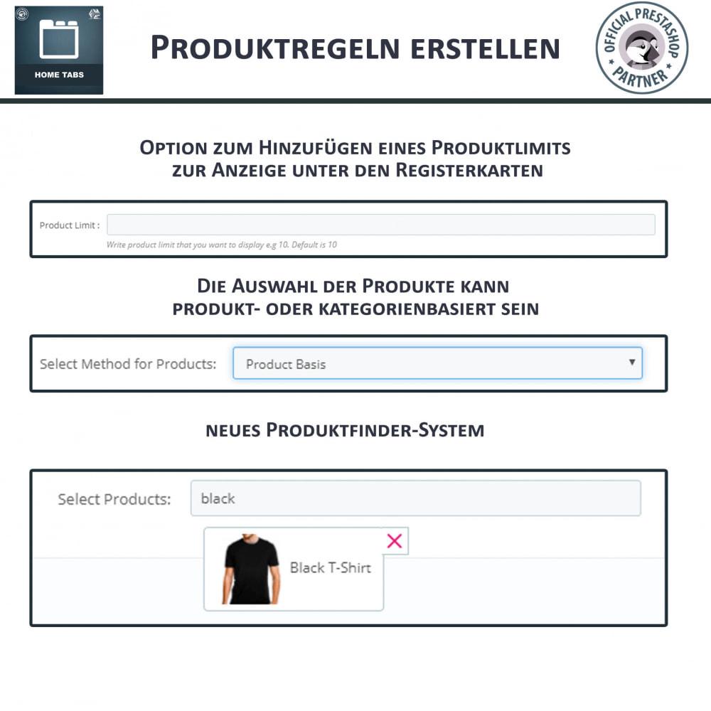 module - Blocks, Reiter & Banner - Home Tabs - Produkte hinzufügen Tabs sortieren - 8