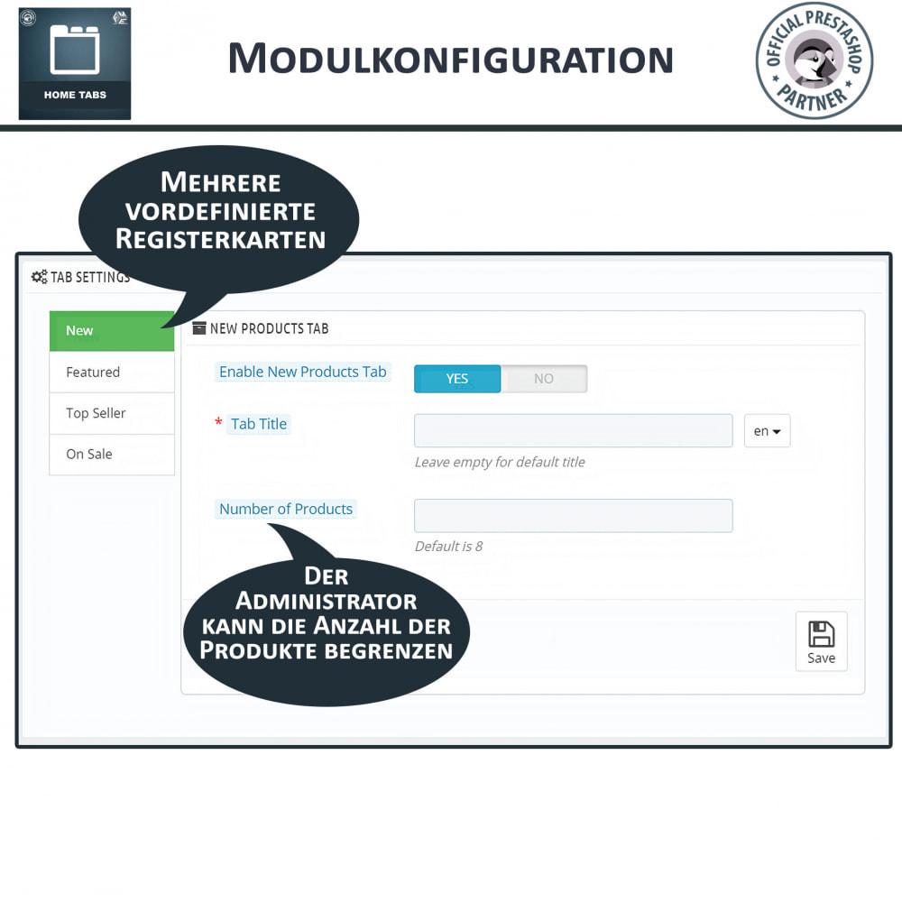 module - Blocks, Reiter & Banner - Home Tabs - Produkte hinzufügen Tabs sortieren - 4
