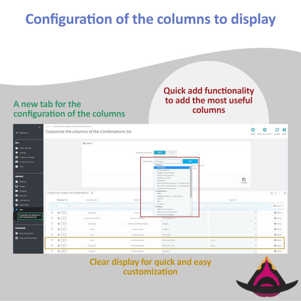 module - Вариаций и персонализации товаров - List of combinations for the back-office - 3