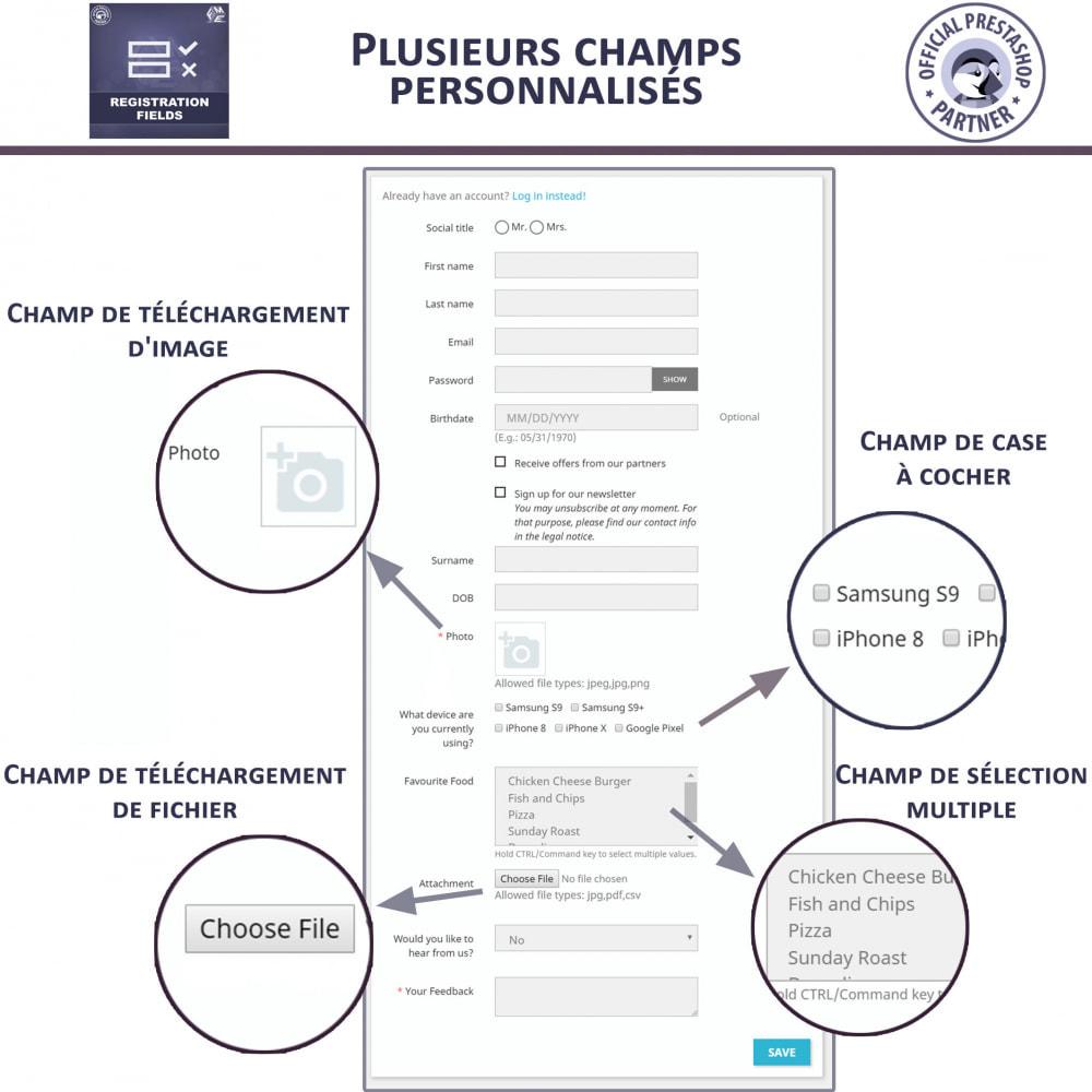 module - Inscription & Processus de commande - Champs d'inscription - Ajouter des champs personnalisés - 2