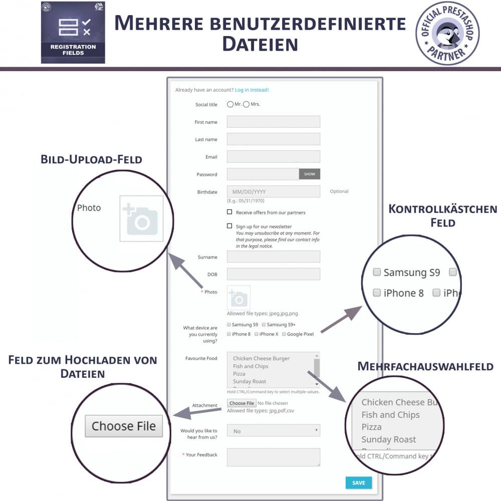 module - Anmeldung und Bestellvorgang - Registrierung Felder, Fügen Sie Kundenattribute - 2