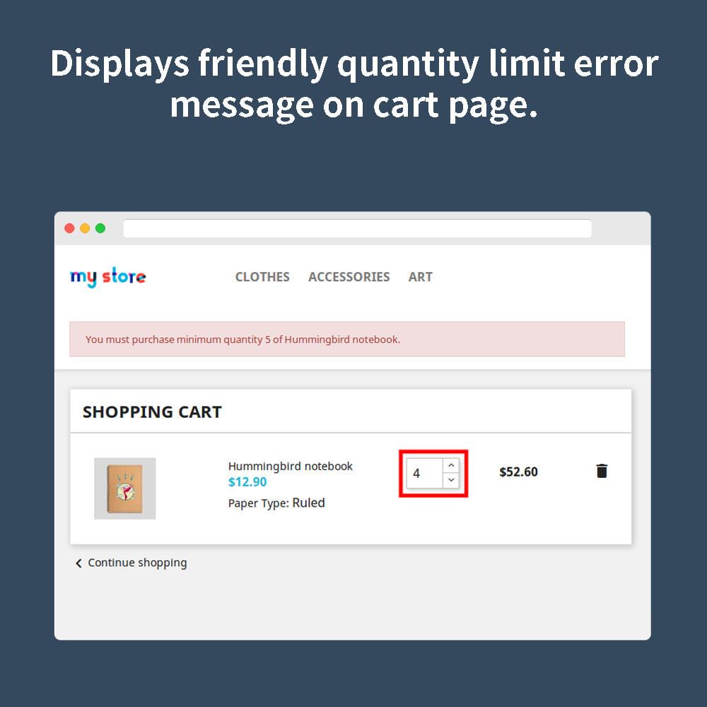 module - Anmeldung und Bestellvorgang - Order Quantity Limit - 5