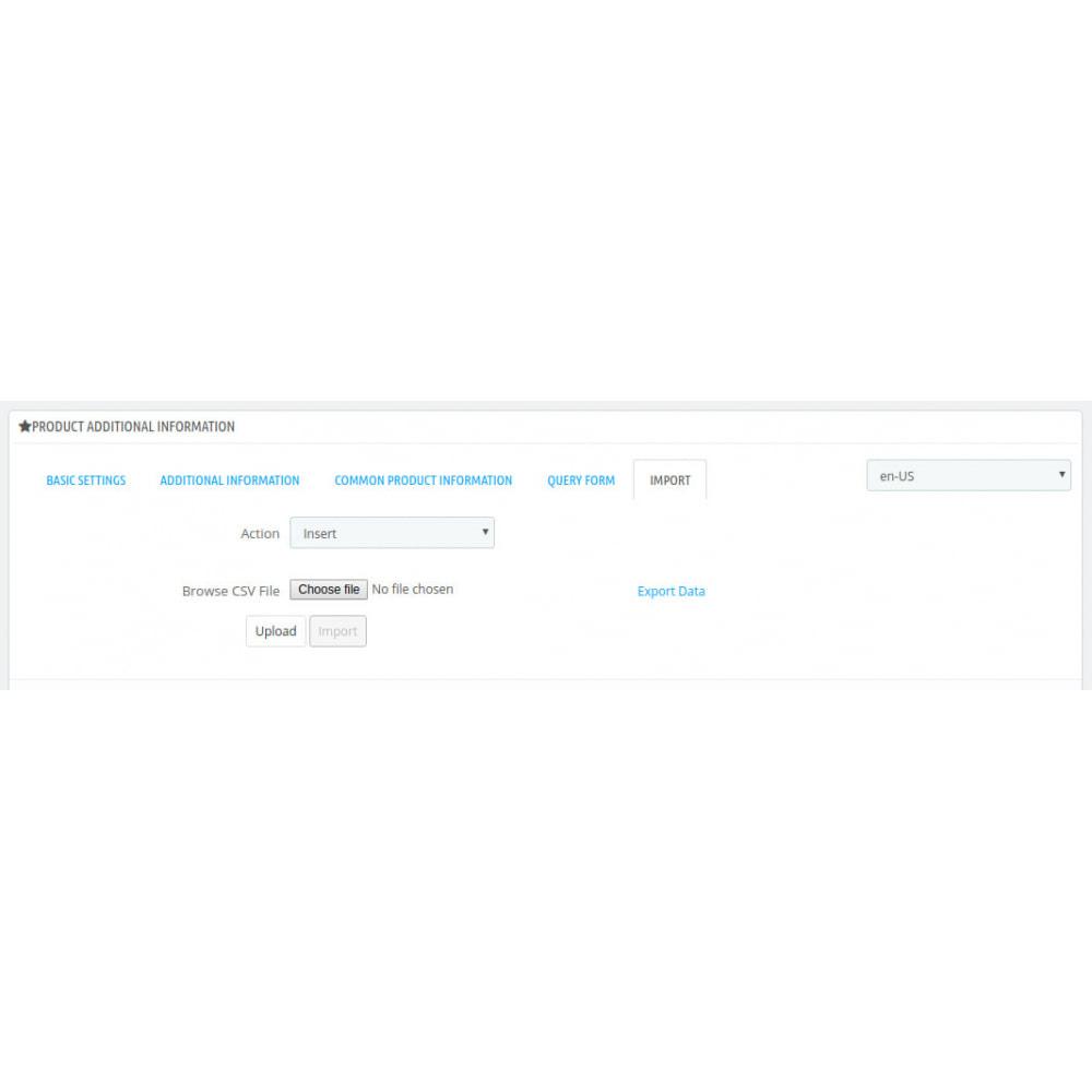 module - Dodatkowe informacje & Zakładka produktu - Product Additional Information, Extra Tabs and Enquiry - 9